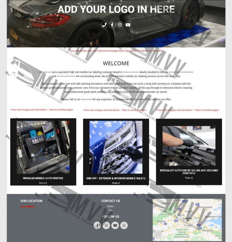 valeting business website template